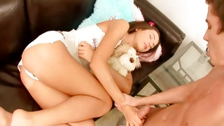 Skinny lusty chick is fucked heavily doggy