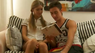 Kinky couple reading the book before a fine fucking