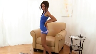 Skinny lascivious bitch is posing totally stripped