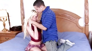 Precious blondie is kneeling for the great teen sex