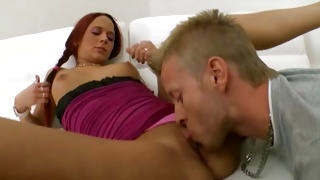 Red haired furious slut moaning while kissed on cunt hole
