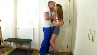She is kissed by the horrible naughty man on teen porn