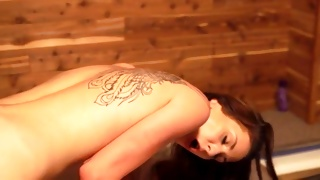 Pretty slut is hollering while fucked by his heavy rod