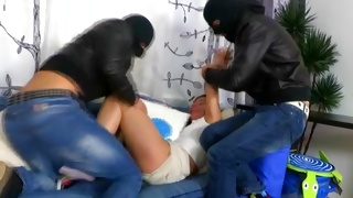 Dirty teen porn with the depraved men in the masks