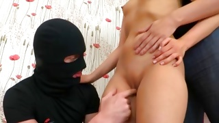 Perfect teen threesome with the ill-mannered guys in masks