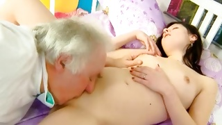 The lovely bitch is going to be pleasured by mature