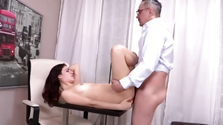 Dark haired fascinating chick is observed on the ass cheeks