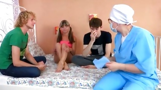 Naughty doctor is observing the virgin cute vagina
