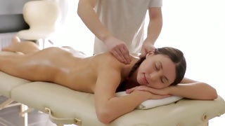 Skinny naughty girl is getting her massaged by cruel fellow