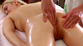 Blonde oily bitch is getting her anal fingered by a fellow
