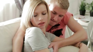Blonde juicy slut gets her breasts kissed by a man