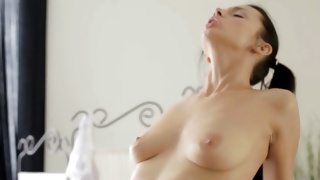 Splendid young bitch is hand jobbing the monstrous cute penis