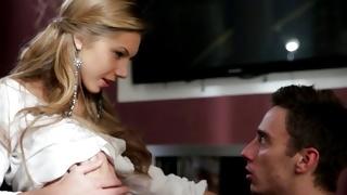 Blonde hottie allowed guy touching her fine teen body