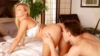 Light haired fascinating chick juicy sucking on a heavy rod