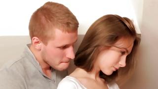 Bawdy teen porn where dude is posing behind a babe