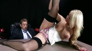 Blonde babe is riding his massive tough dick