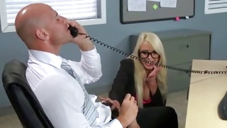 Blonde secretary is trying to seduce her boss