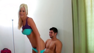 Passionate blonde is moaning while hammered deep