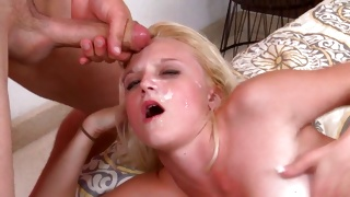 Naked blonde chick starts riding a huge hard boner rough