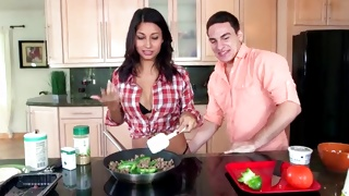 Hot couple is in the kitchen cooking in a slutty way