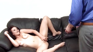 Naked babe with fine shaved hole exposing her fuck hole