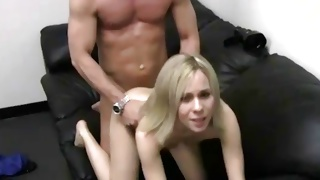 Blonde slut is getting her mouth stuffed with a cock