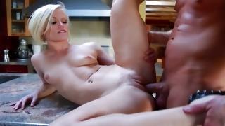 Kinky babe in underwear observed by hot guy