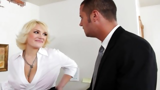 Blonde woman is seducing horny man