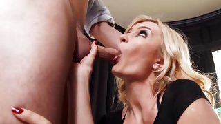 Blonde naughty woman is observed by kinky dude