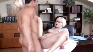 Blondie in sexy underwear is seducing muddy guy