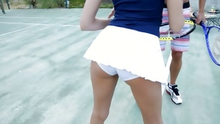 Sporty dude is playing tennis with special hottie