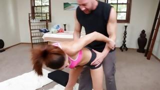 Cruel dude is bending a slut over that looks precious