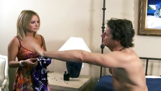 Topless horny guy wants being pleasured by beauty