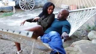 Ebony beauty came for fucking with horrible black guy