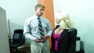 Blonde vulgar slut is observed by depraved man