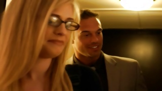 Marvelous bitch is followed by horrible guy in suit