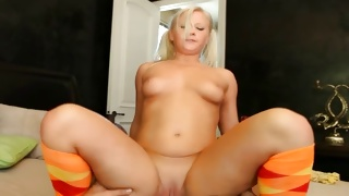 Fully stripped young slut is bending while sucking on hard cock