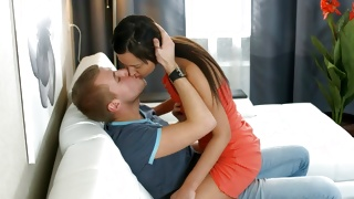 Brunette furious chick is seducing horrible man