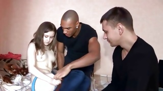 Black guy is watching on salacious teen babe