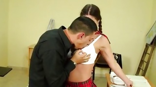Sexy schoolgirl is sucked on perfect tits