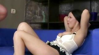 Dark-haired libidinous Mrs. gets her twat hole examined by fella
