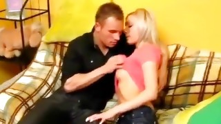 Blond mischievous wench is giving buddy to suck her delicate boobs