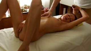 Watch on the passionate juvenile doxy that is smiling while massaged